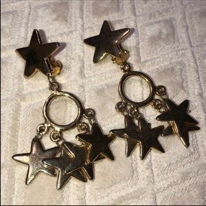 Vintage Gold STAR EARRINGS Clip On or pierced